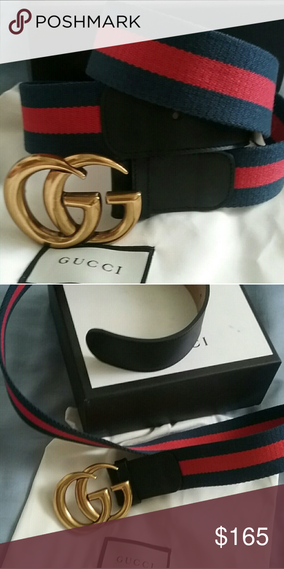 79c051212c6 Authentic Gucci Belt Blue Red Stripe Brass Buckl Brand New Gucci Belt Blue    Red Stripe with Brass GG Buckle. Hot! Comes with tags