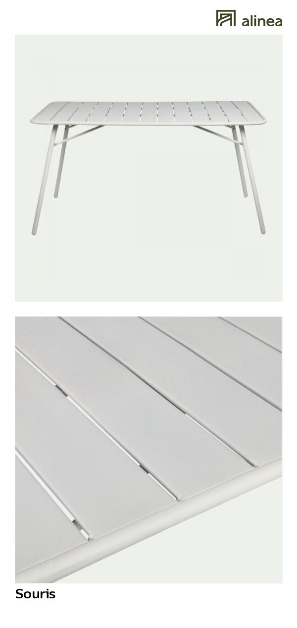 alinea : souris table de jardin pliante gris clair en acier ...