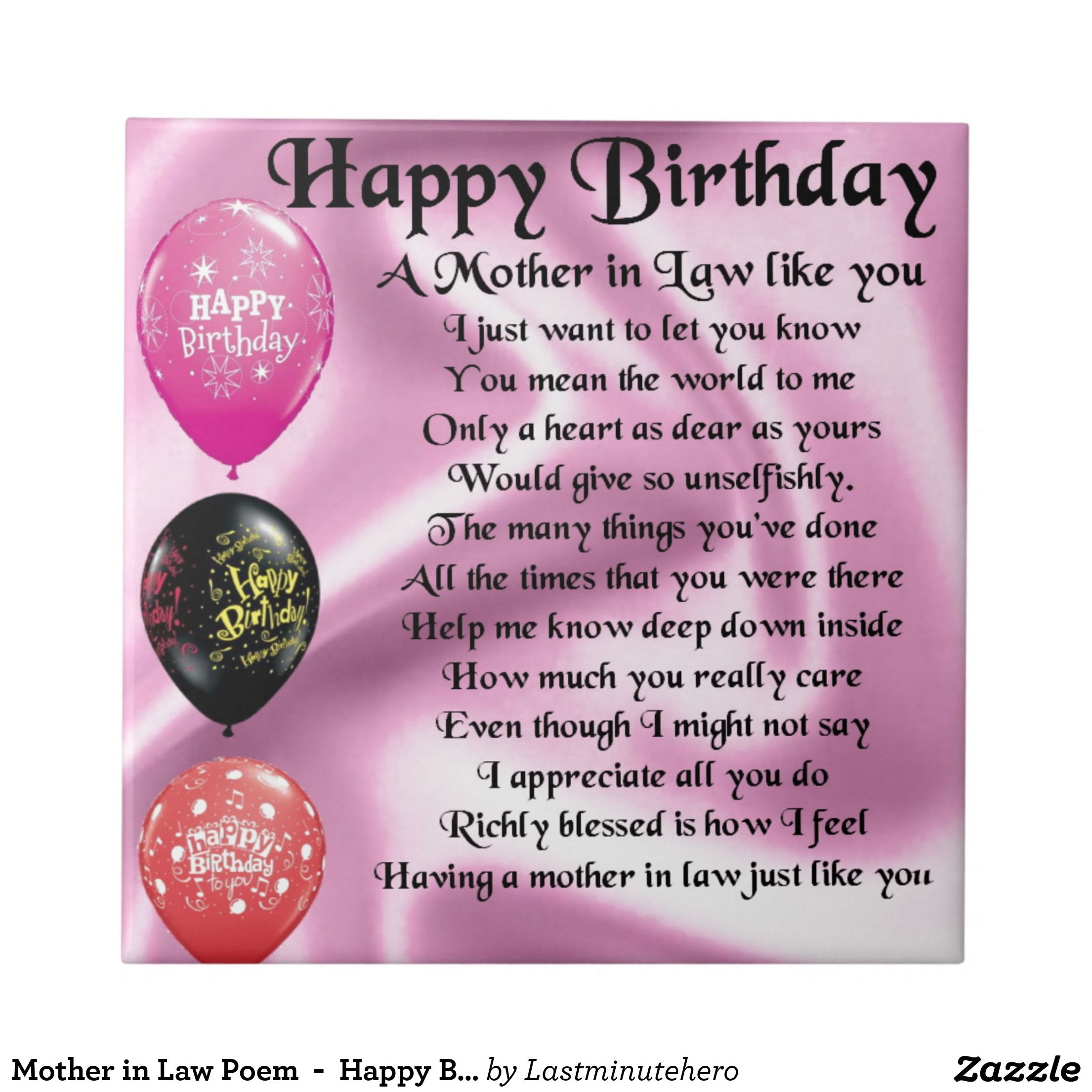 Mother In Law Poem Happy Birthday Tile Meaningful To Me