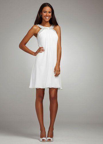 David\'s Bridal Wedding Dress: Short Flowy Chiffon Dress with Crystal ...