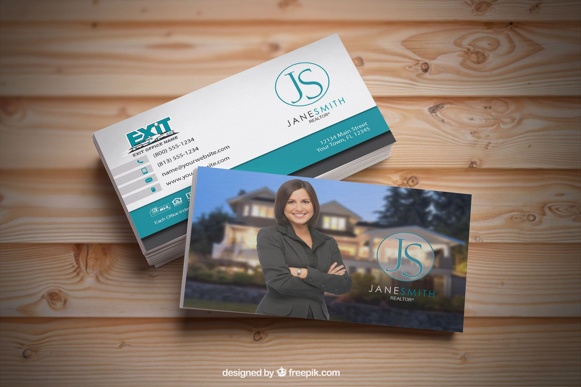 Clean and modern Exit Realty business card designs for Realtors ...