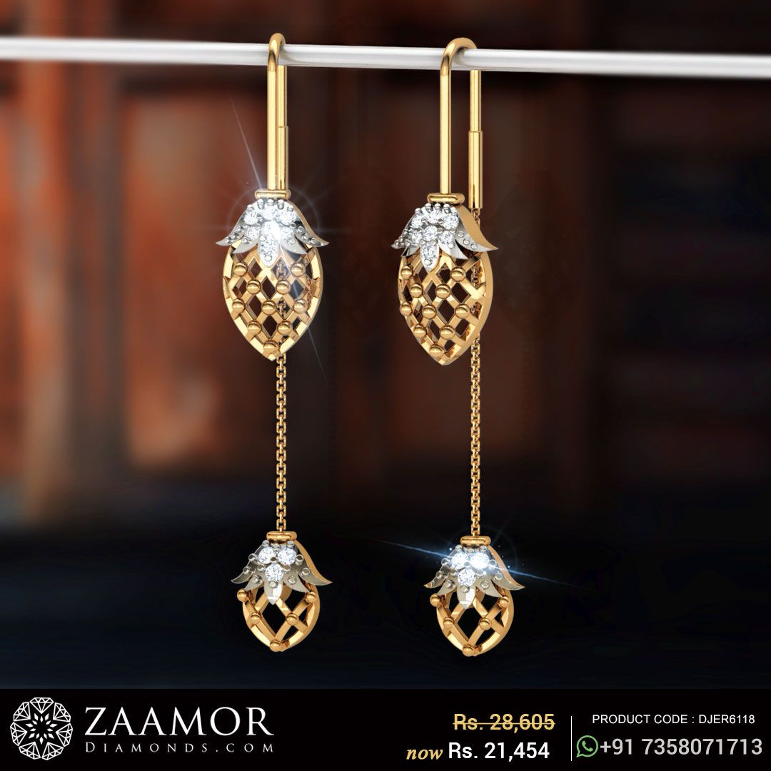 Jasayla Floral Sui Dhaga Diamond Earrings Jewellery Pinterest