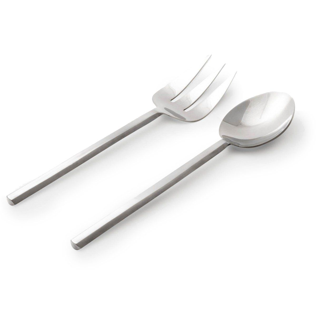 Make moves toward a very polished look when you set a table with this refined stainless steel collection, featuring clean lines in silver. Finish: Polished silver Material: Stainless Steel Dishwasher Safe Imported Serving Spoon: 2