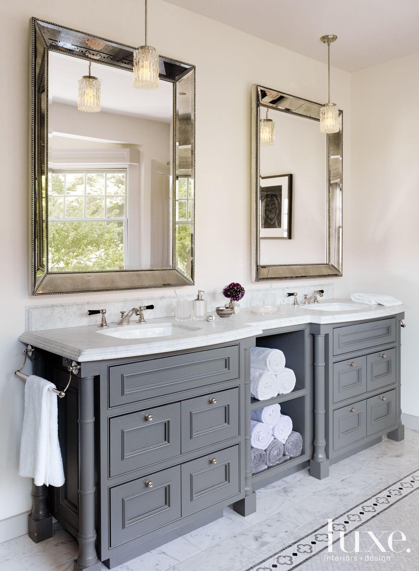 In The Master Bathroom Rosenfeld Hung A Pair Of Midcentury Nickel And Crystal Pendant Cheap Bathroom Vanities Traditional Bathroom Grey Traditional Bathrooms