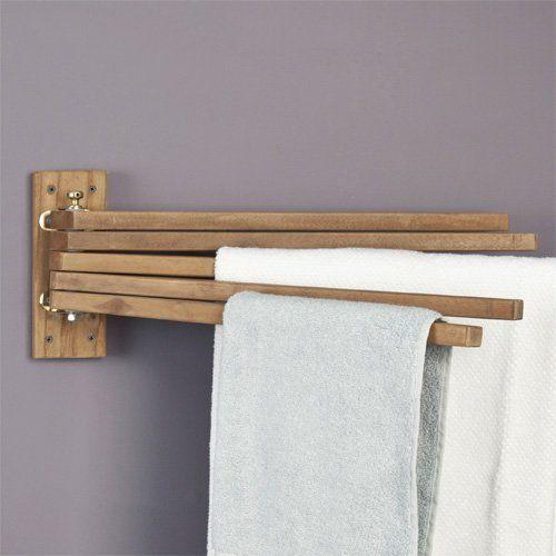 teak wood swing arm towel bar