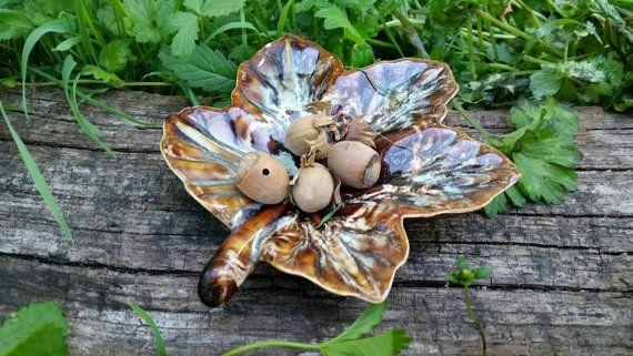 French Vintage Autumn Leaf Offering Dish, Autumn Equinox Offering Bowl,  Pagan Altar Decor, Ceramic Leaf Dish, Fall Decor, Pagan Home Decor