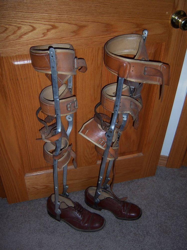 Vintage Aluminum Amp Leather Polio Leg Braces W Shoes For