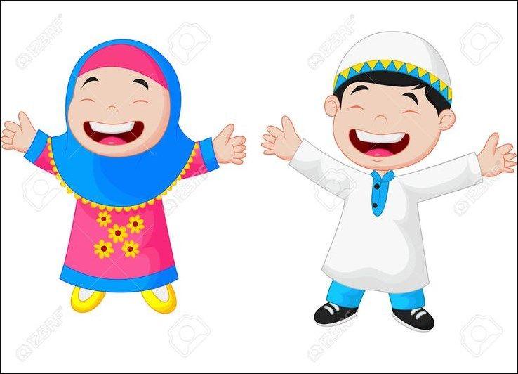 Gambar Lucu Anak Belajar Lucu Bulat Muslim Kids Cartoon Kids Kids Stock