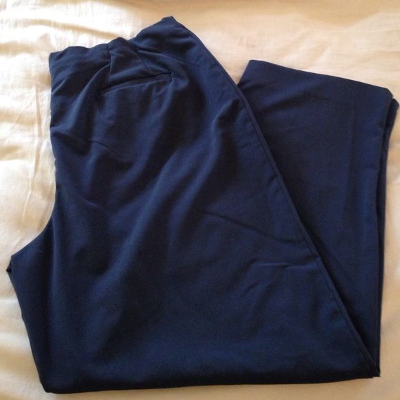 Navy Blue Avenue Slacks Inseam 29 inches. Gently used condition. There's a zipper on the side and elastic in the waist. Avenue Pants Trousers