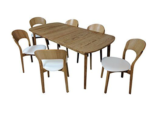 Scandinavian Oiled Oak Dining Set with 6 chairs White Leather seats and extendable table  sc 1 st  Pinterest & Scandinavian Oiled Oak Dining Set with 6 chairs White Leather seats ...
