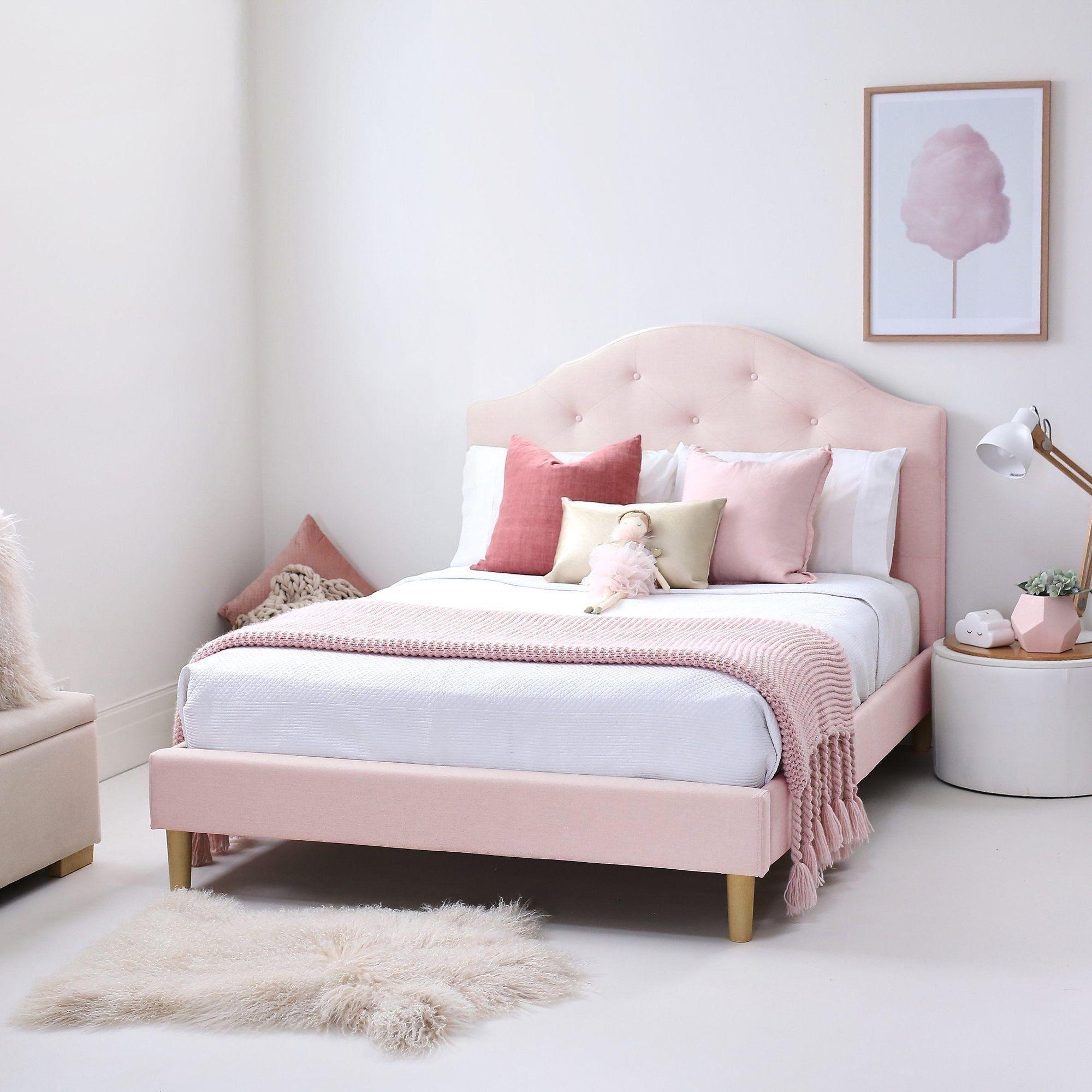 Mia Upholstered Bed Pink Velvet Hipkids Hip Kids