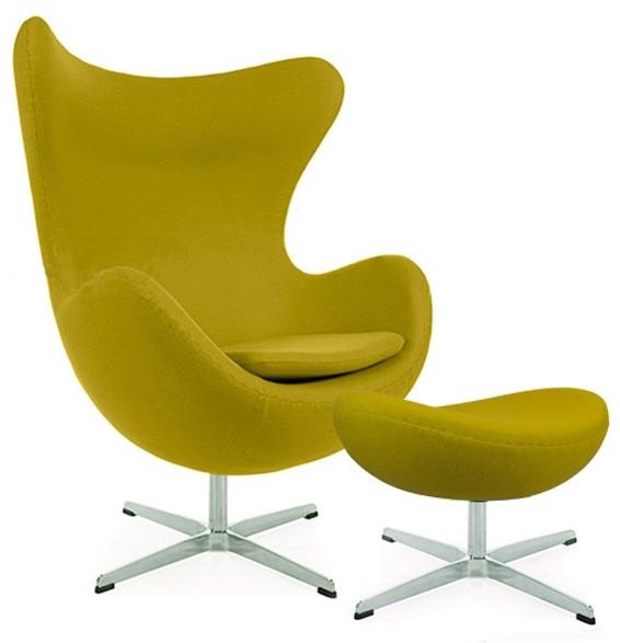 Arne Jacobsen Egg Chair & Ottoman Olive Green Cashmere