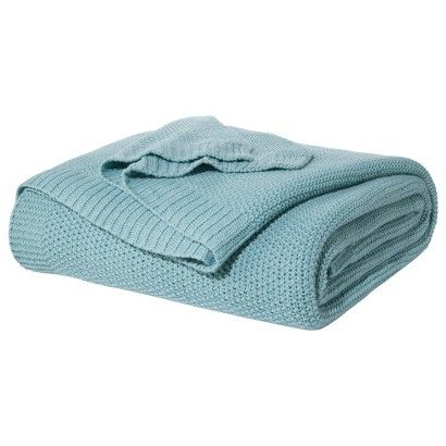 Threshold Sweater Knit Blanket Ancient Aqua Guest Room