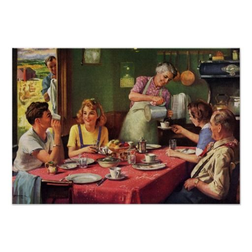 Vintage Family Eating Breakfast in the Kitchen Poster | Zazzle.com in 2021  | Family eating, Family illustration, Kitchen posters