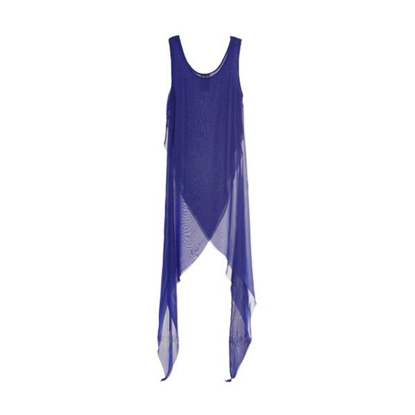 Sharp-angled Hem Blue Dress (1 160 UAH) ❤ liked on Polyvore featuring dresses, tops, blue, shoes, scoop neckline dress, chiffon dresses, scoop neck dress, blue day dress and blue chiffon dress