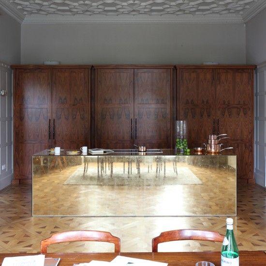 modern kitchen-diner with gold glass island | kitchen decorating