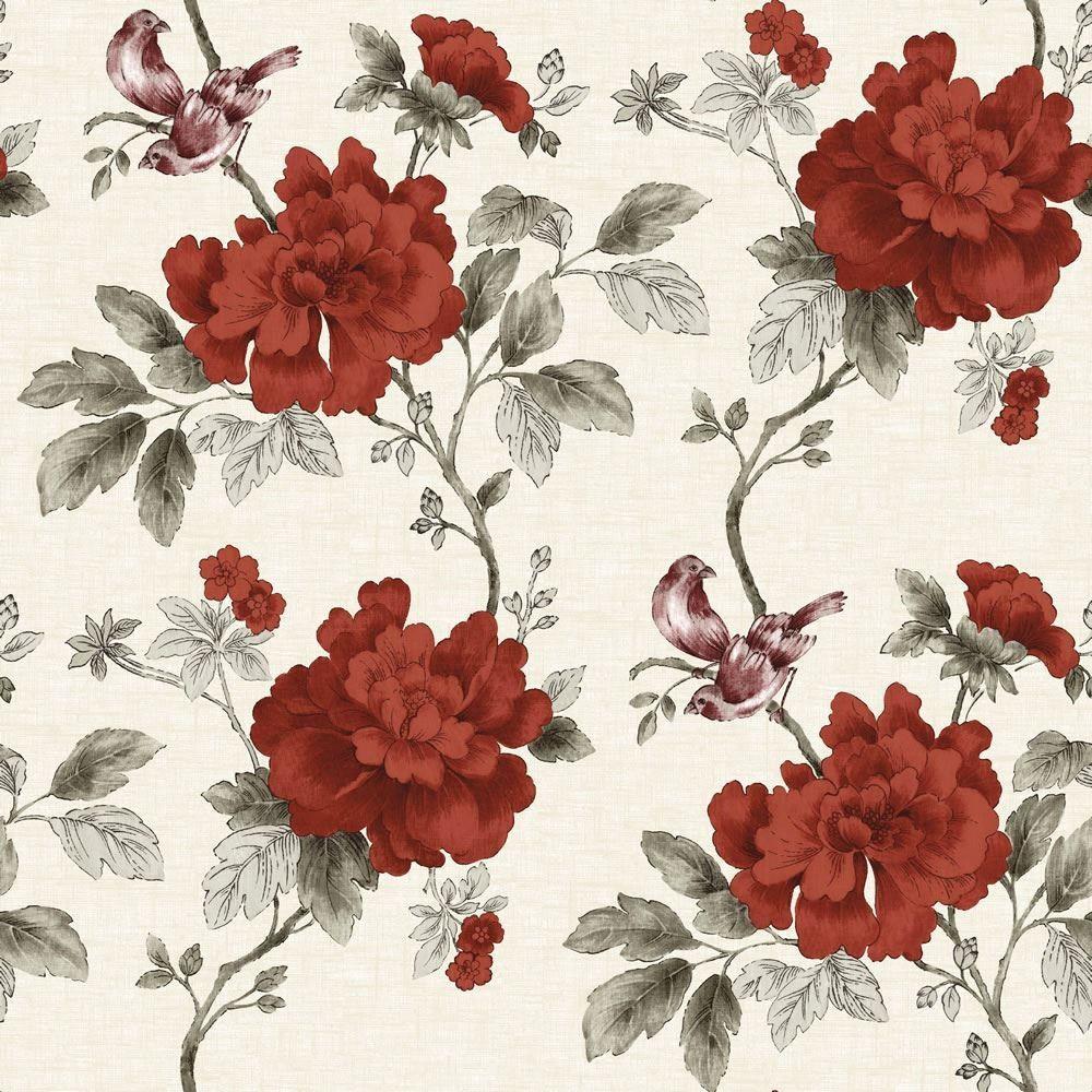 Red Grey Linen POB 012 01 3 Botanical Garden Floral