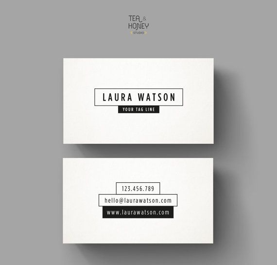 Minimalistic black and white business card by teaandhoneystudio minimalistic black and white business card template premade simple business card design modern calling card creative contact card wajeb Choice Image