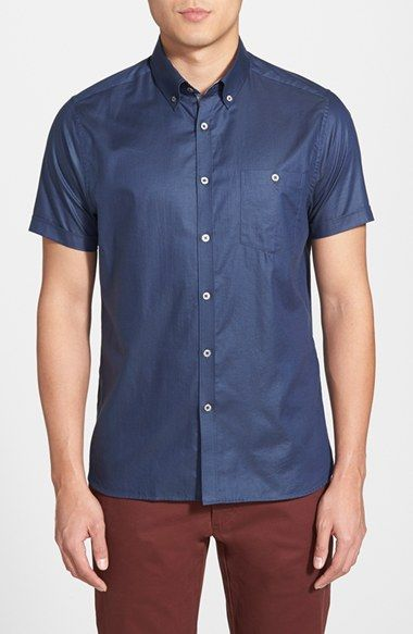 a4f1611ac5b9 Men s Ted Baker London  Bravvo Nord  Slim Fit Short Sleeve Oxford Sport  Shirt