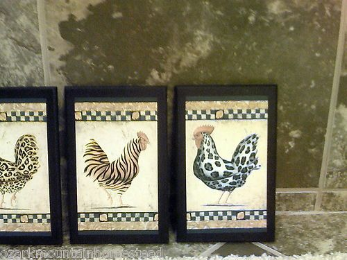 4 Rooster Pictures 4pc Set Roosters Hens Chickens Primitive Kitchen Decor Rustic
