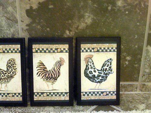 4pc Funky Chickens Roosters Kitchen Decor Signs Zebra Stripe Tiger Leopard  Print | EBay