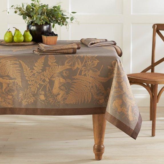 "Forest Jacquard Tablecloth, 70"" X 108"", Mauve"