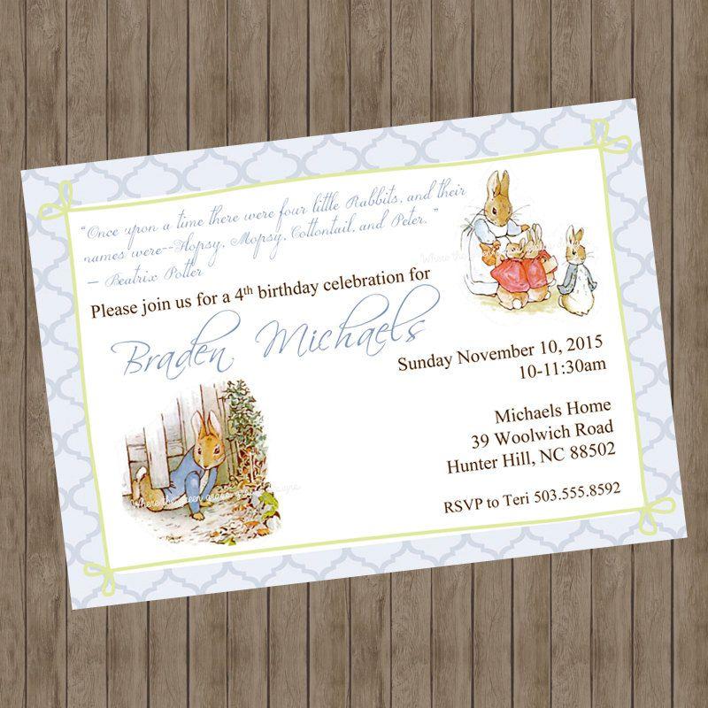 Beatrix Potter Peter Rabbit Invitations #gardenPartyInvitation ...