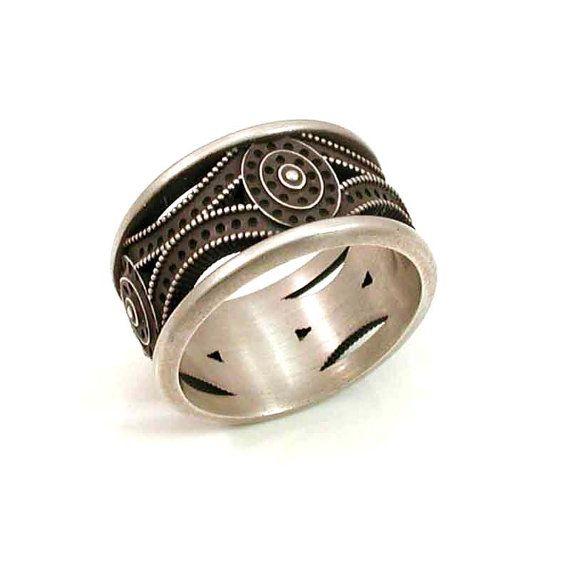 Mens Art Deco Ring Sterling Silver Handmade DecoArt deco