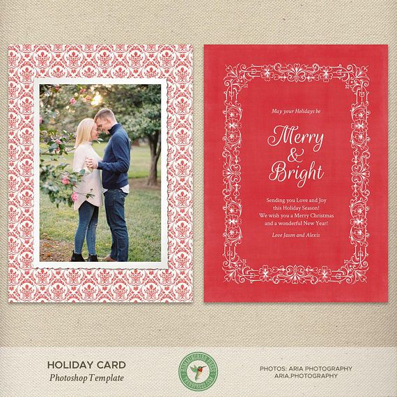 X Vintage Style Christmas Card Template Holiday Card Photo