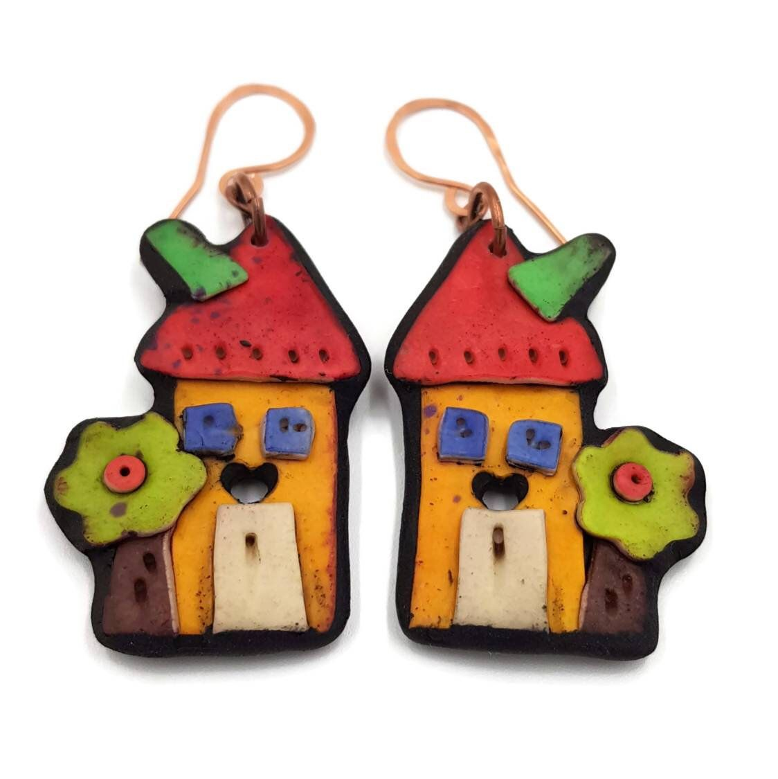 Cute earrings Valentines gift for her Polymer clay