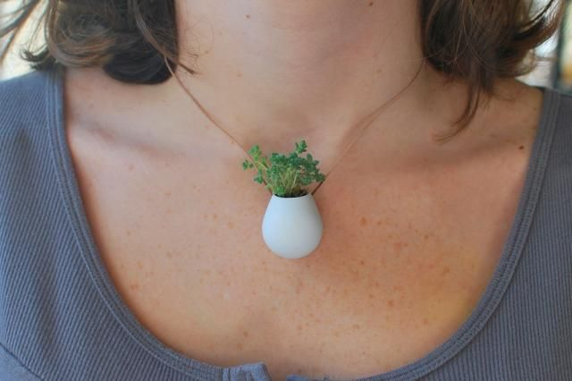 Wearable Planter, No. 1 by colleenjordan on Shapeways, the 3D printing marketplace #3dPrintedJewelry