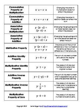 3 Algebraic Property Activities Bundle Algebraic Properties Math Properties Teaching Algebra