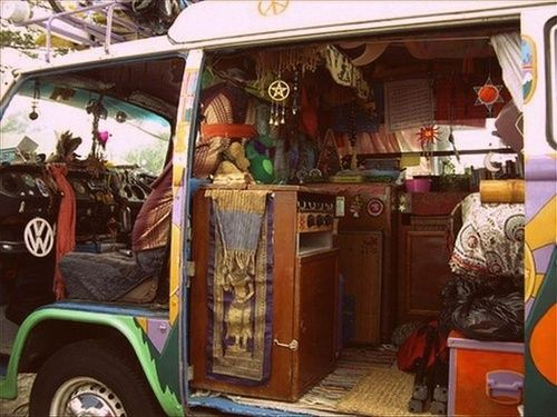 Inside a hippie bus