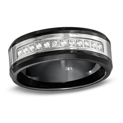 Men S 8 0mm 1 Ct T W Diamond Wedding Band In Stainless Steel And
