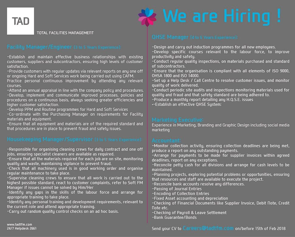 We Are Hiring We Are Hiring Hiring Facility Management