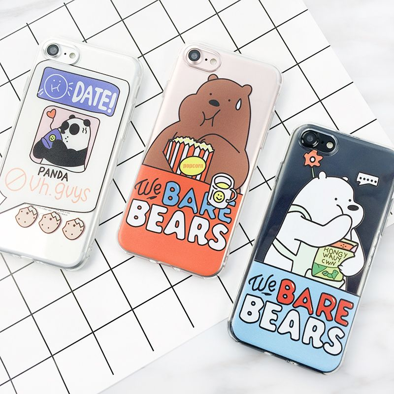 Fitted Cases Japan Cute Cartoon We Bare Bears Silicone Phone Case For Iphone 6 6s 7 8 Plus X Xs Max Xr Doll Toy Panda Soft Cover Strong Resistance To Heat And Hard Wearing Phone Bags & Cases