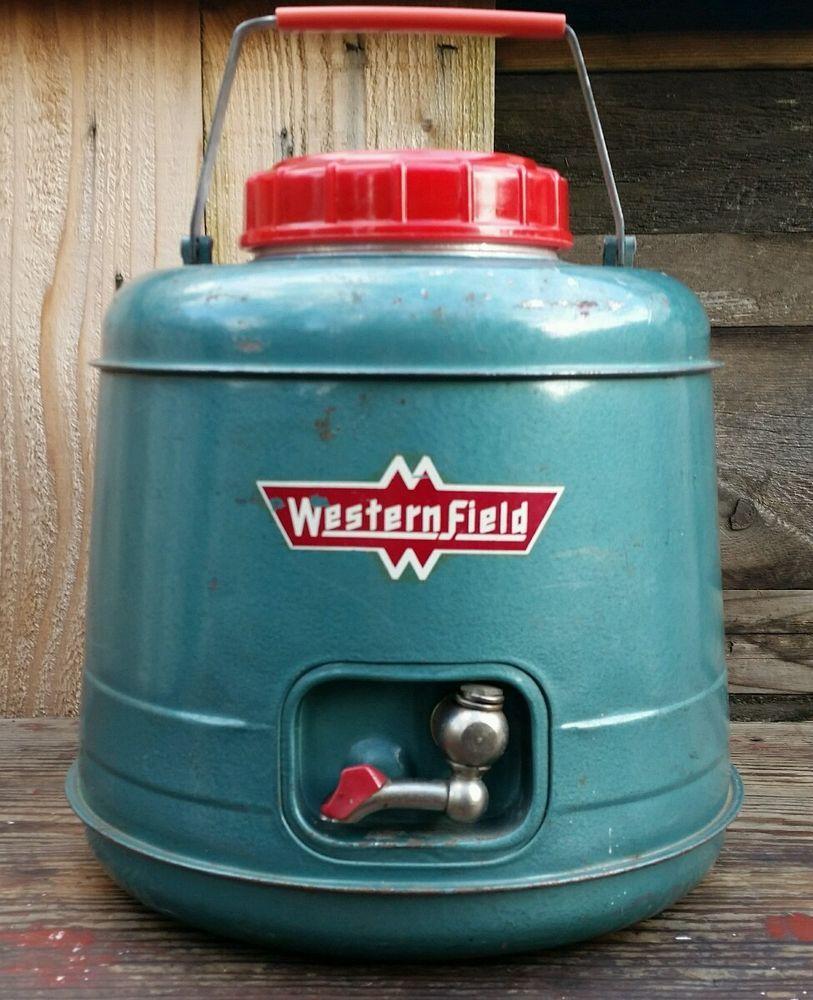 Vtg. RARE Western Field Metal Water Jug Spigot Dispenser Insulated Camp Picnic  | eBay