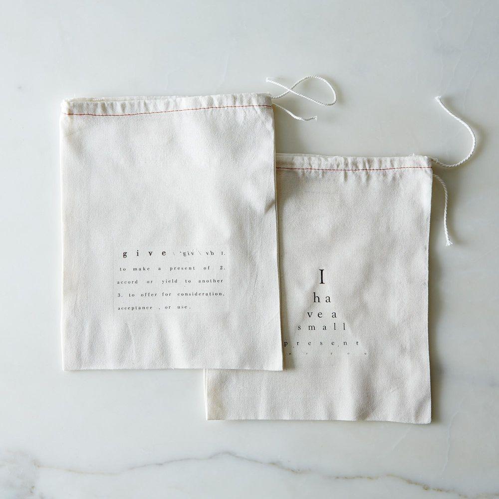 Bolsas de regalo impresas en algodón (juego de 2)