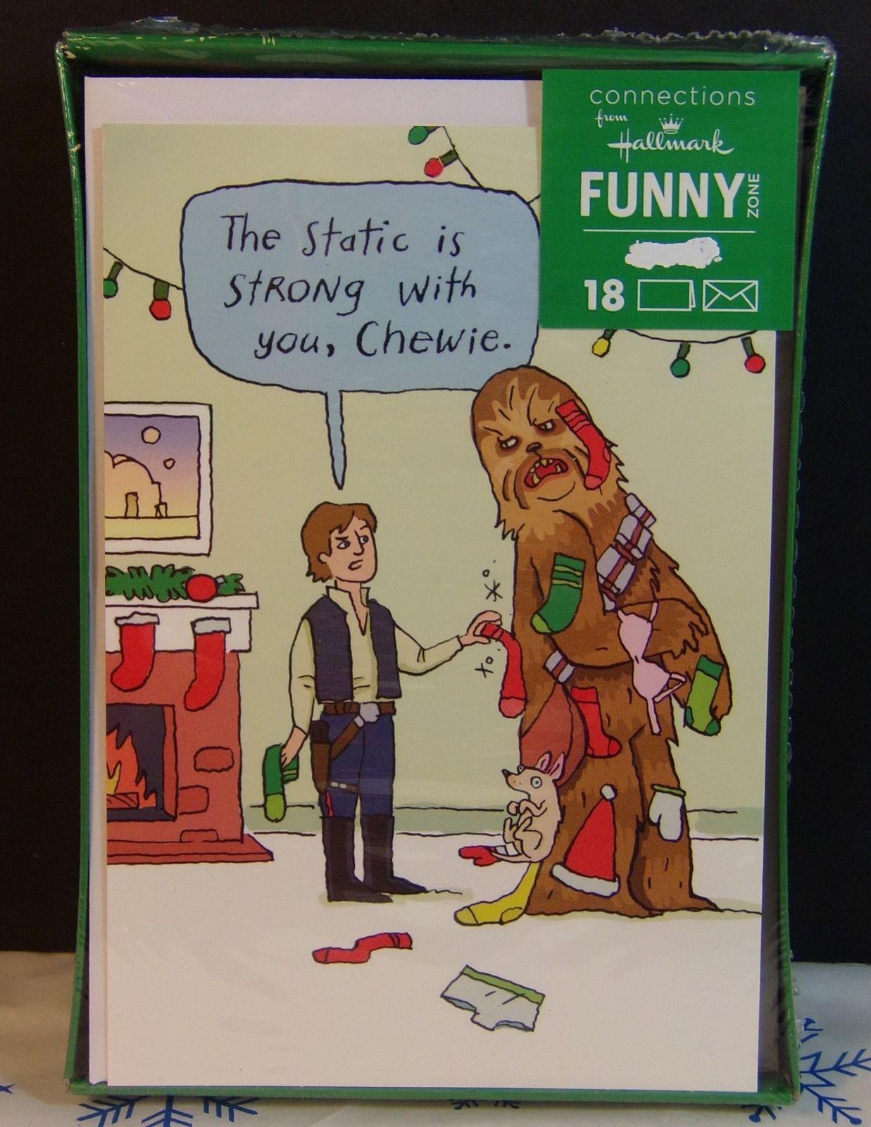Hallmark Funny Zone Disney STAR WARS Christmas Holiday Cards New