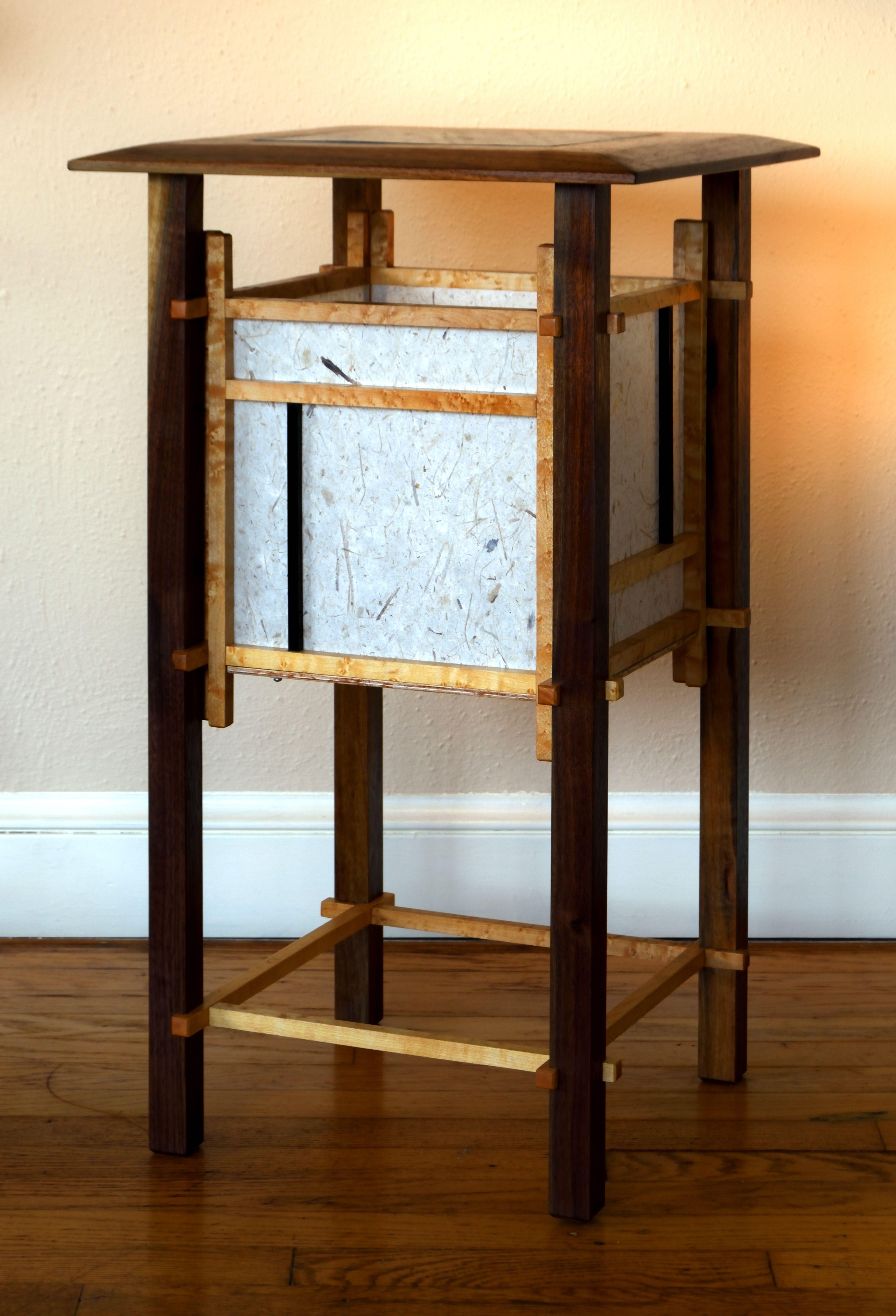 Shoji Floor Lamp Created With Walnut Birdseye Maple And Ebony
