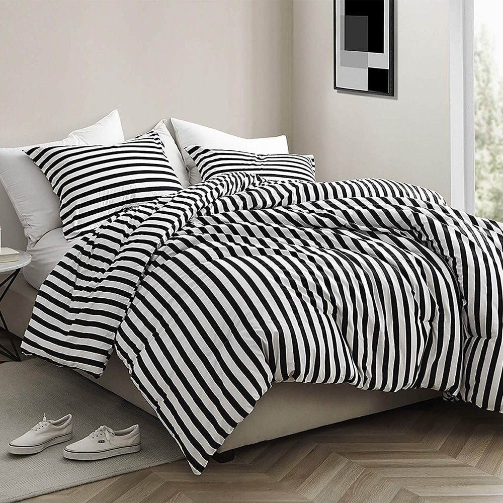 Onyx Black And White Striped Oversized Comforter 100 Cotton Bedding Comforter Sets White Comforter Striped Bedding