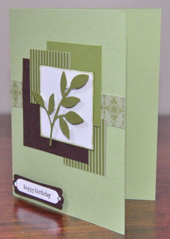 Little Leaves Birthday Greeting Card Green Brown Nature For Her For Him Blank Inside Stamped Cards Handmade Hand Crafted Cards Greeting Cards Handmade