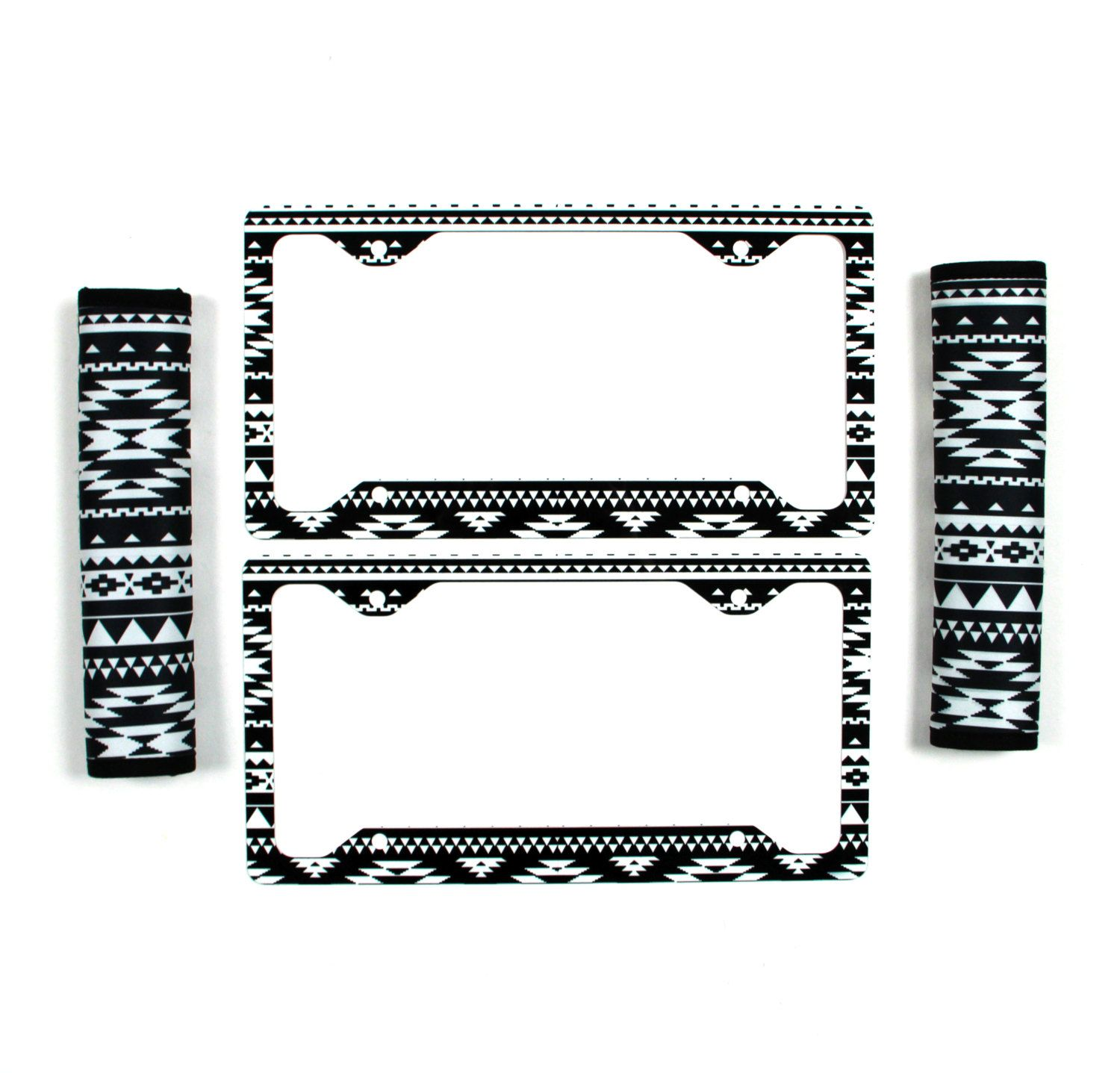 Black And White Aztec License Plate Frame & Seat Belt Cover Set ...