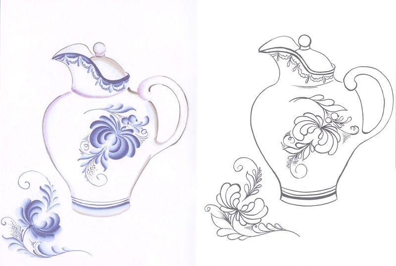 Картинка раскраска посуда роспись под гжель
