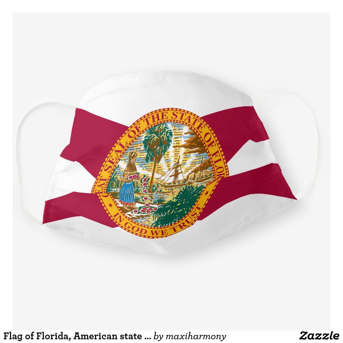 Flag Of Florida American State Flag Cloth Face Mask Zazzle Com In 2020 American State Flags Face Mask Florida Flag