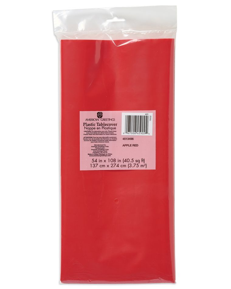 American Greetings Plastic Table Cover Bright Red 54 x 108