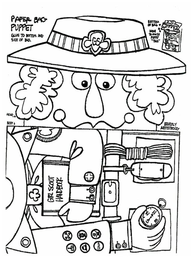 juliette gordon low coloring page - juliette low bag puppet great for celebrating her
