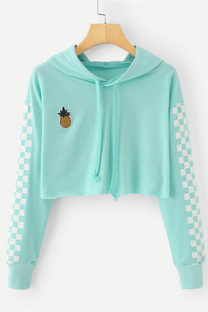 Photo of Angie Pineapple – Karierter Hoodie mit bauchfreiem Oberteil in Mint-Türkis – #Angie #C …