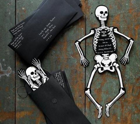 Halloween Special - Skeleton Invitations Tutorial With Templates - martha stewart halloween ideas