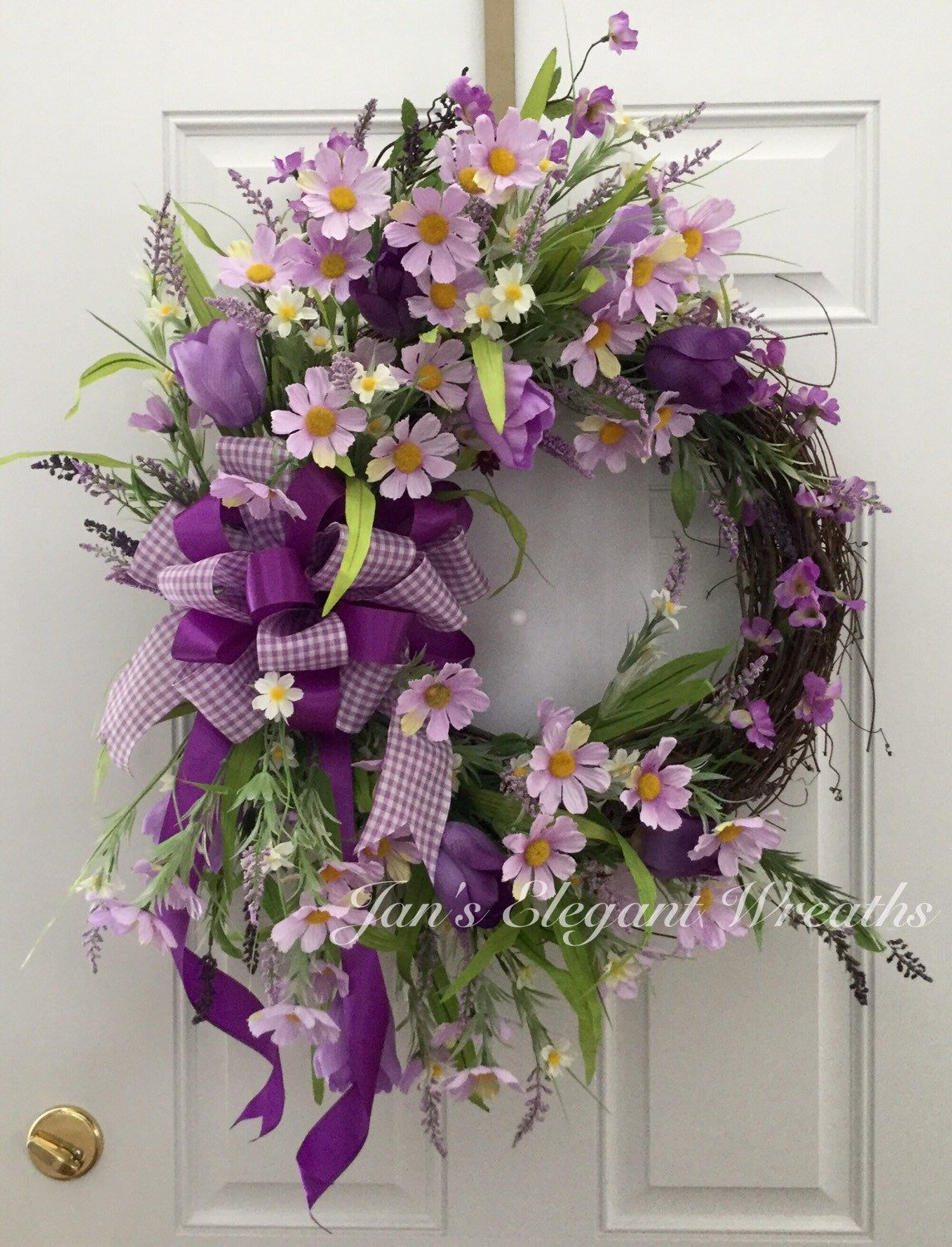 A personal favorite from my Etsy shop https://www.etsy.com/listing/272047824/spring-wreath-easter-wreath-purple